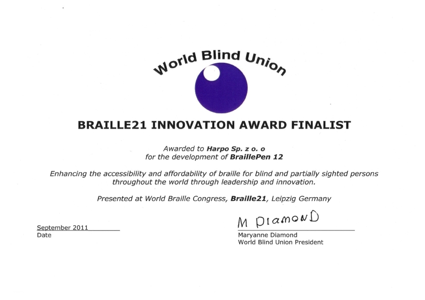 Braille21 Dyplom